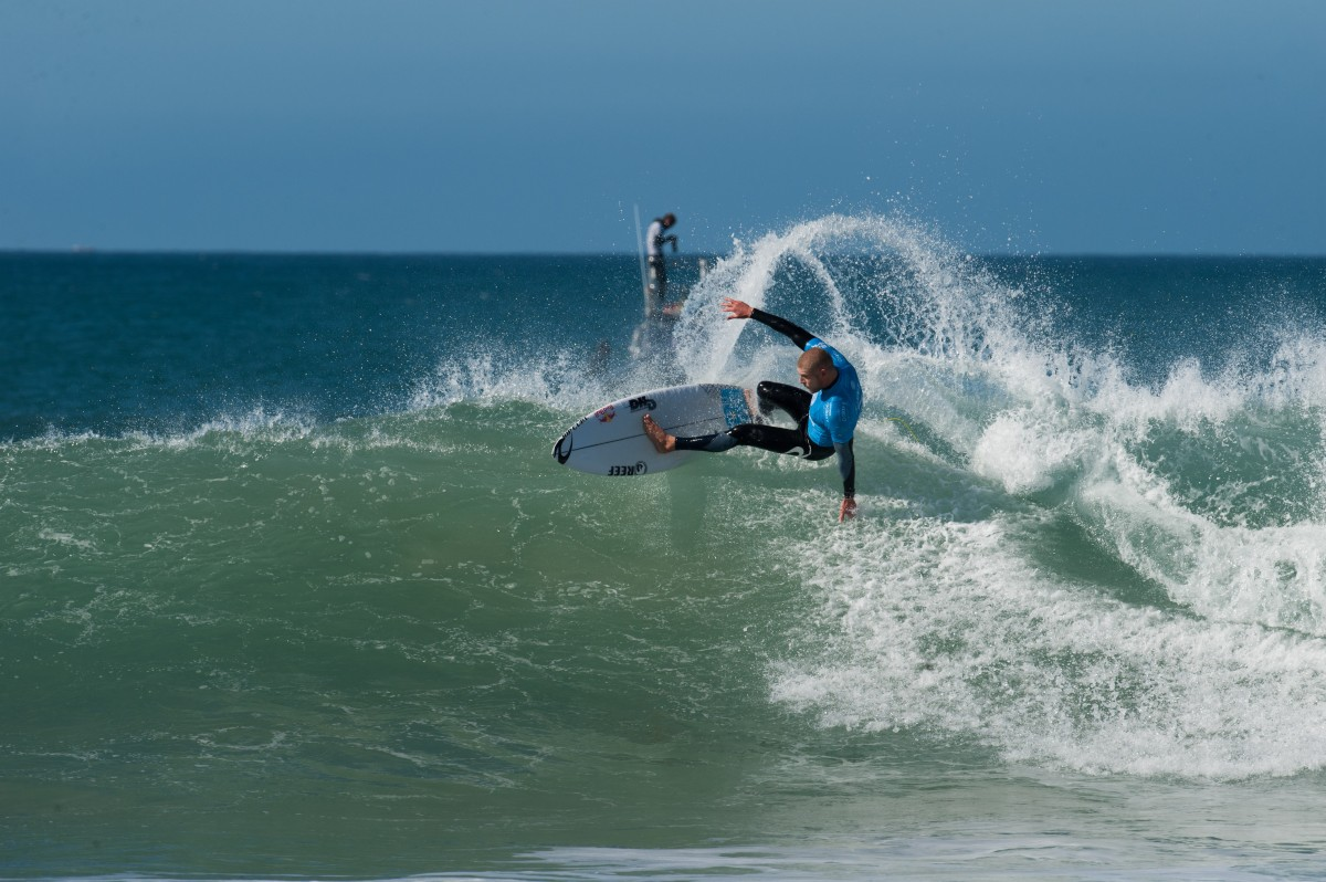 Mick Fanning in action during the JBay Open, prior to the shark encounter ©Kody Mcgregor