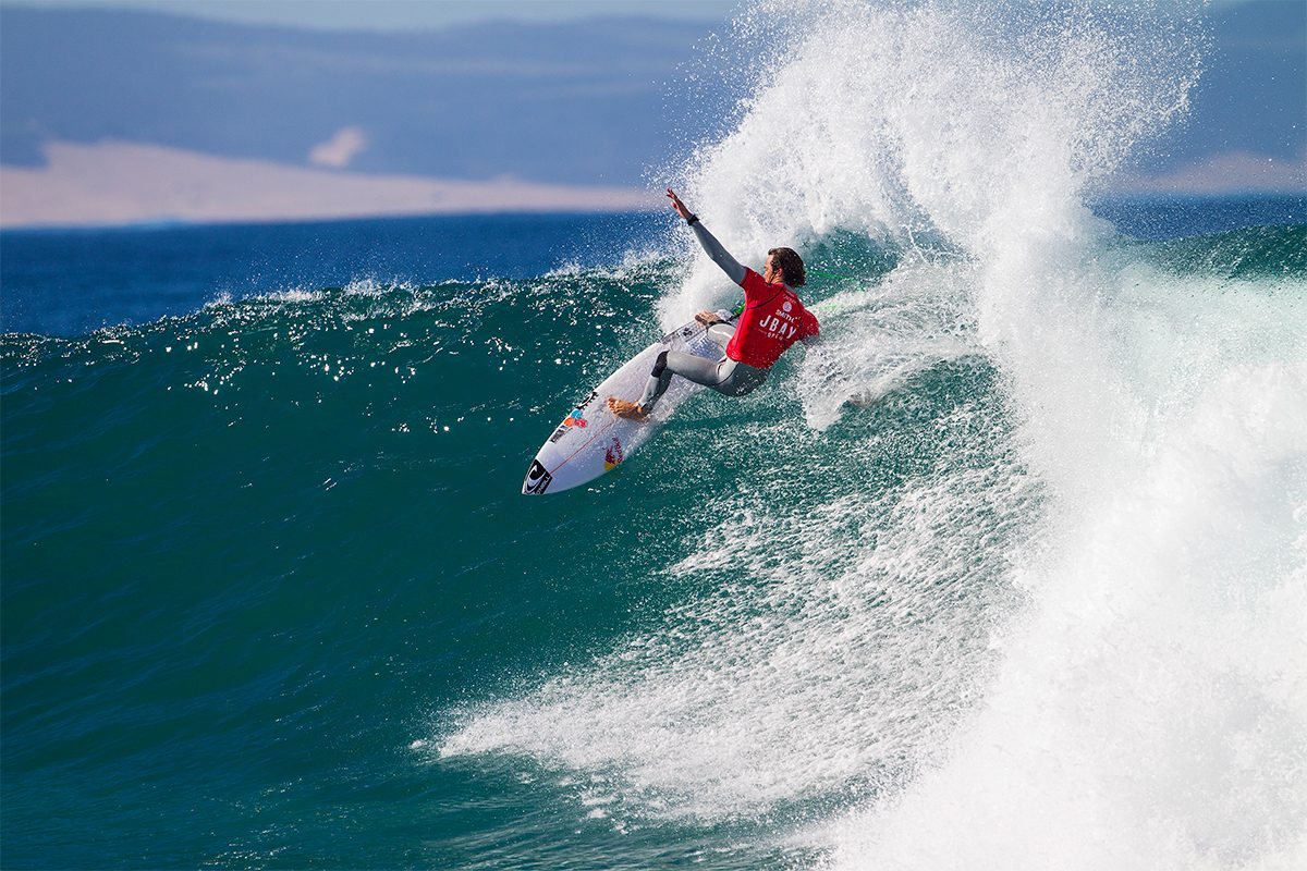 Two times event champion and currently ranked third in the world, Jordy Smith will hit the water in heat 5 of round one. ©WSL/Kirstin Scholtz